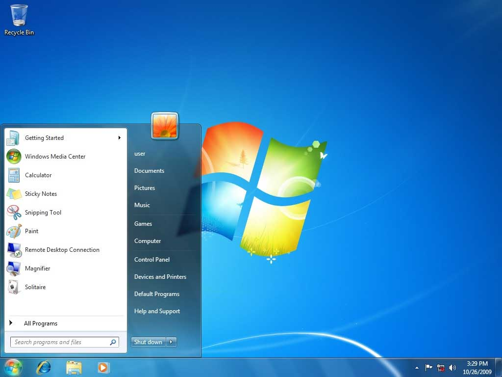 Windows 7 Home screen